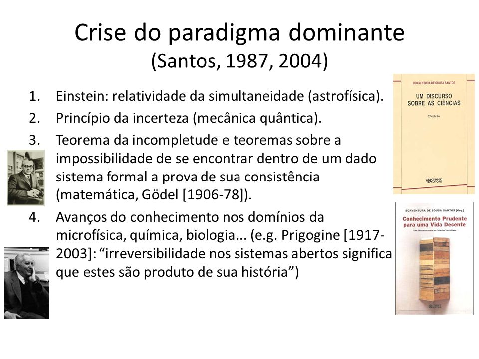 Crise do paradigma dominante (Santos, 1987, 2004)