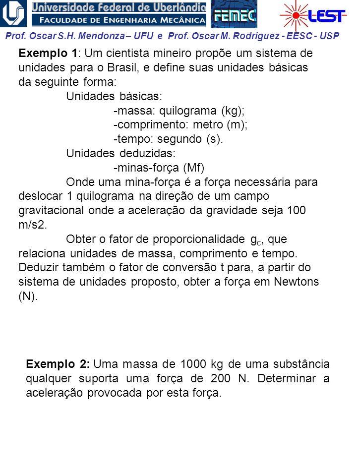 Exemplo 1: Um cientista mineiro propõe um sistema de unidades para o Brasil, e define suas unidades básicas da seguinte forma: