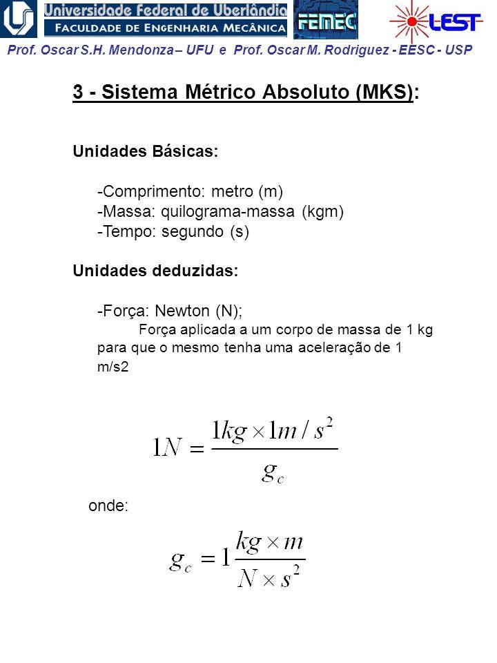 3 - Sistema Métrico Absoluto (MKS):