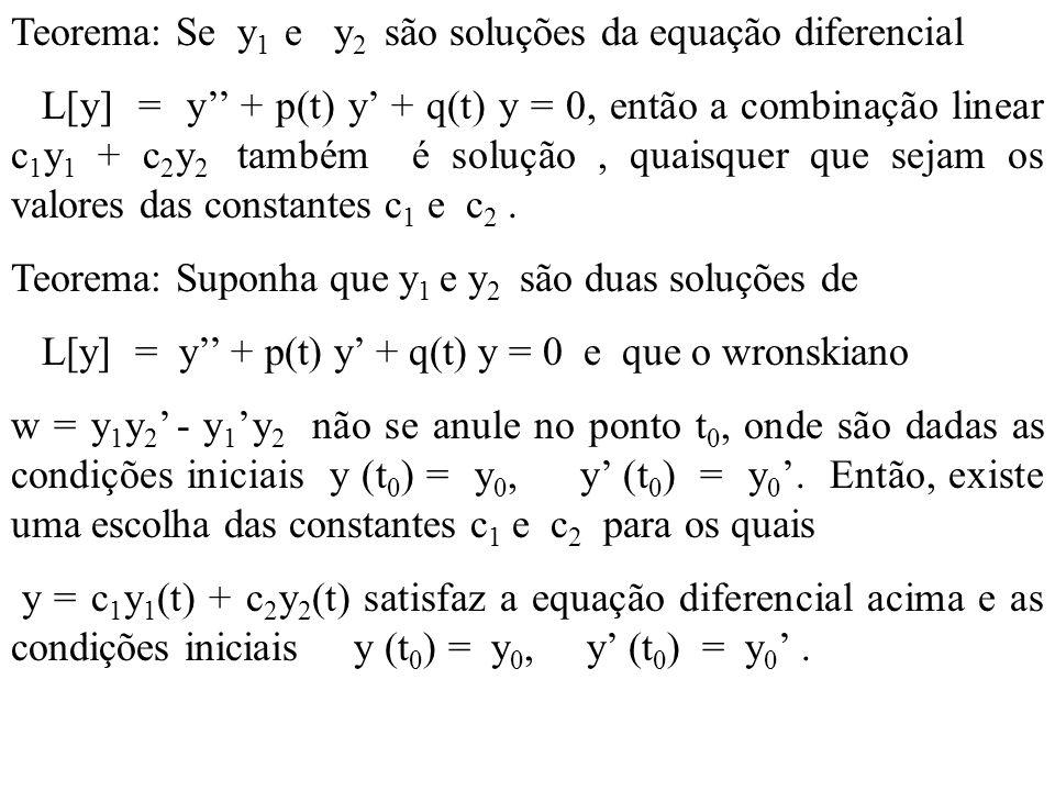 Teorema: Se y1 e y2 são soluções da equação diferencial