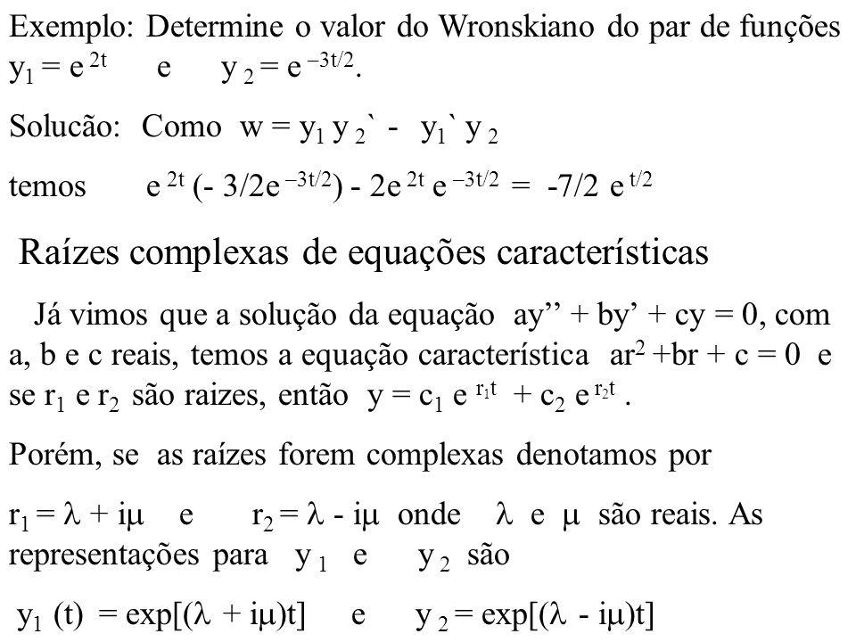 Raízes complexas de equações características
