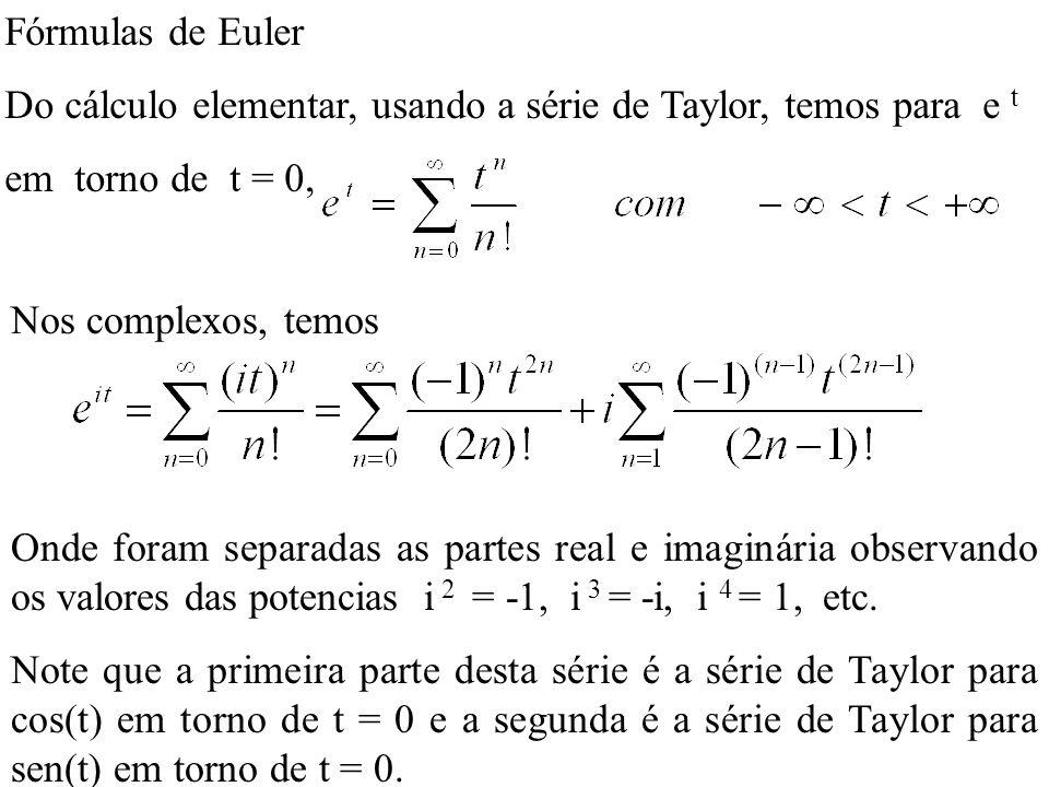 Fórmulas de Euler Do cálculo elementar, usando a série de Taylor, temos para e t. em torno de t = 0,