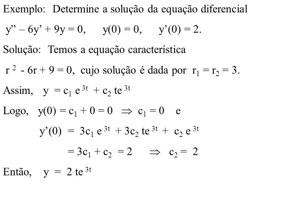 Exemplo: Determine a solução da equação diferencial