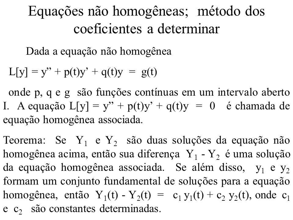 Equações não homogêneas; método dos coeficientes a determinar