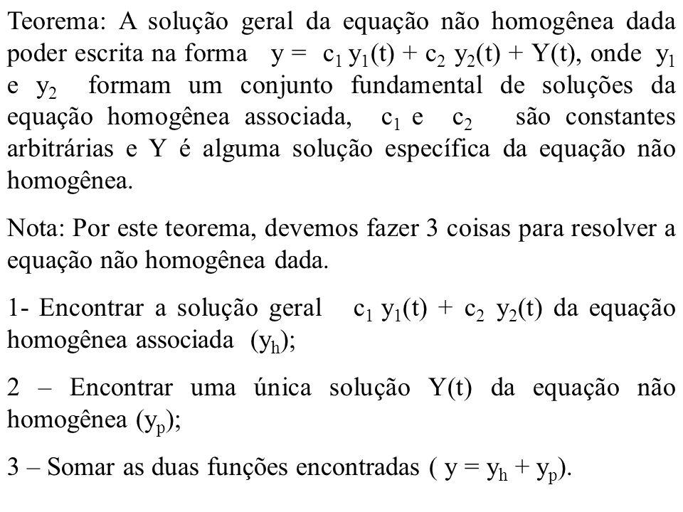 Teorema: A solução geral da equação não homogênea dada poder escrita na forma y = c1 y1(t) + c2 y2(t) + Y(t), onde y1 e y2 formam um conjunto fundamental de soluções da equação homogênea associada, c1 e c2 são constantes arbitrárias e Y é alguma solução específica da equação não homogênea.