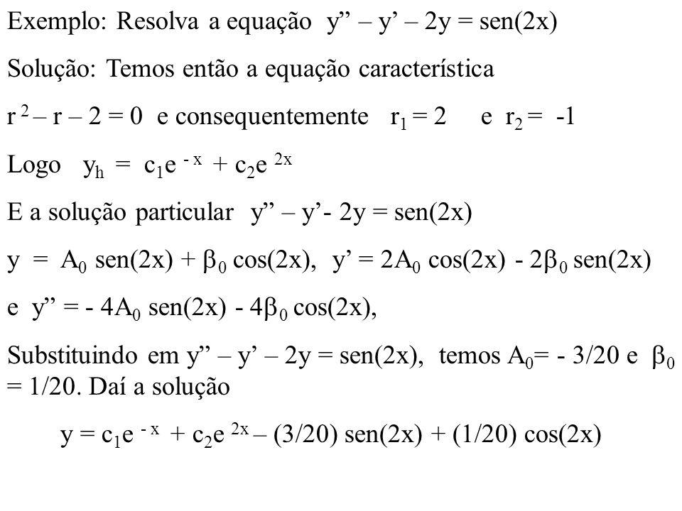 Exemplo: Resolva a equação y – y' – 2y = sen(2x)