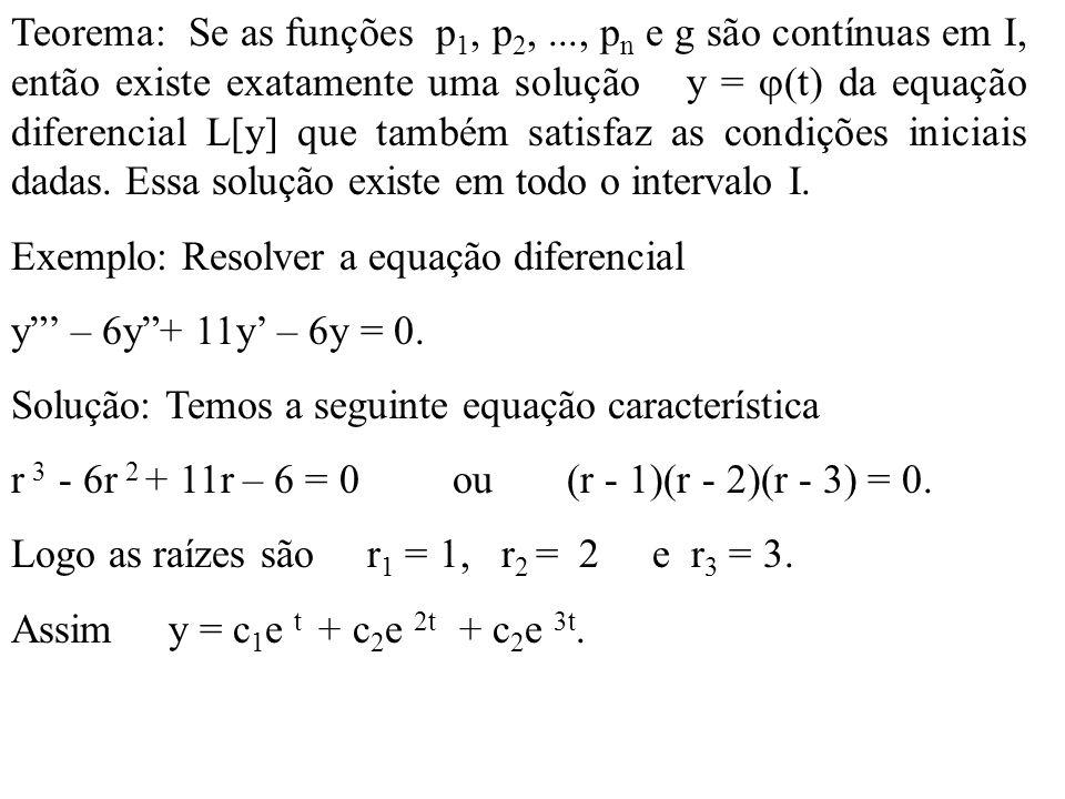 Teorema: Se as funções p1, p2,