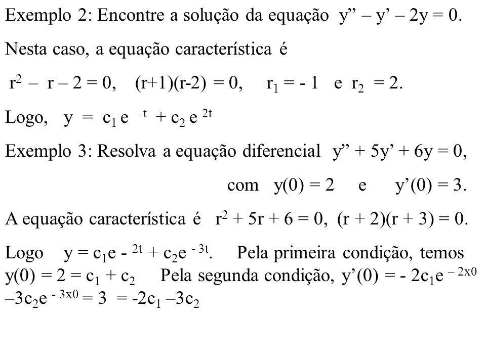 Exemplo 2: Encontre a solução da equação y – y' – 2y = 0.