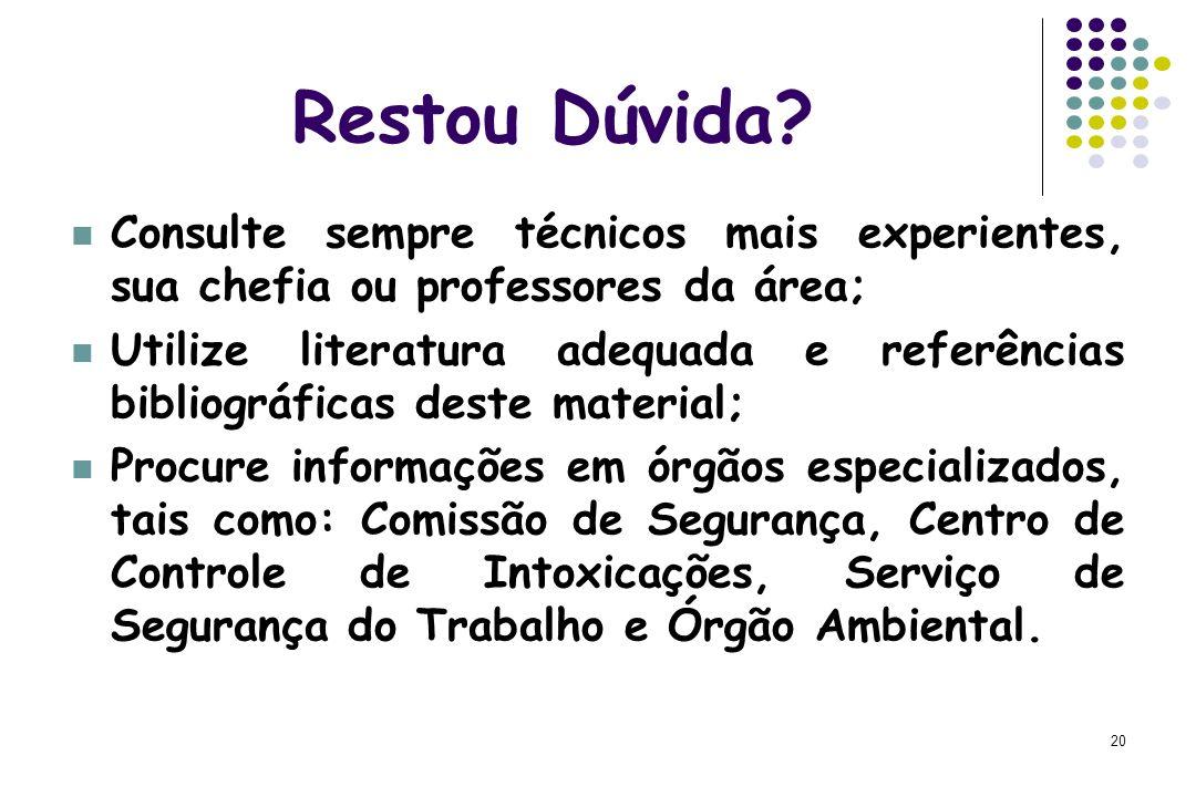 Restou Dúvida Consulte sempre técnicos mais experientes, sua chefia ou professores da área;