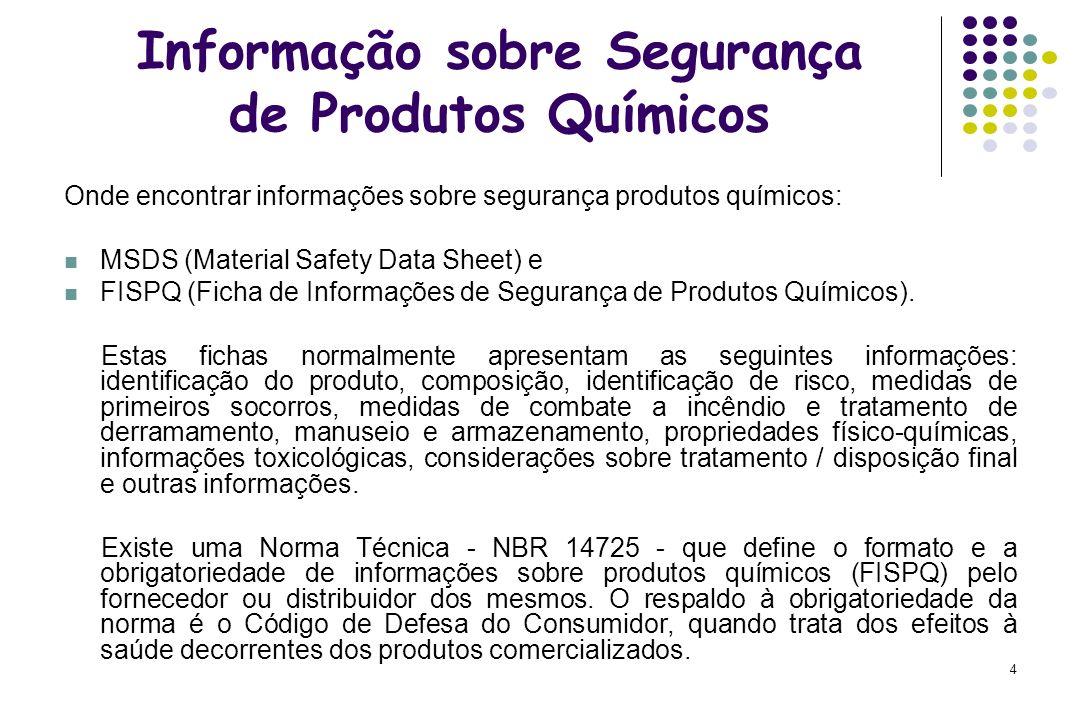 Informação sobre Segurança de Produtos Químicos