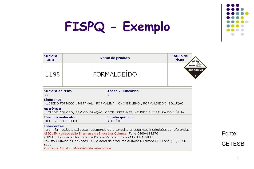 FISPQ - Exemplo Fonte: CETESB