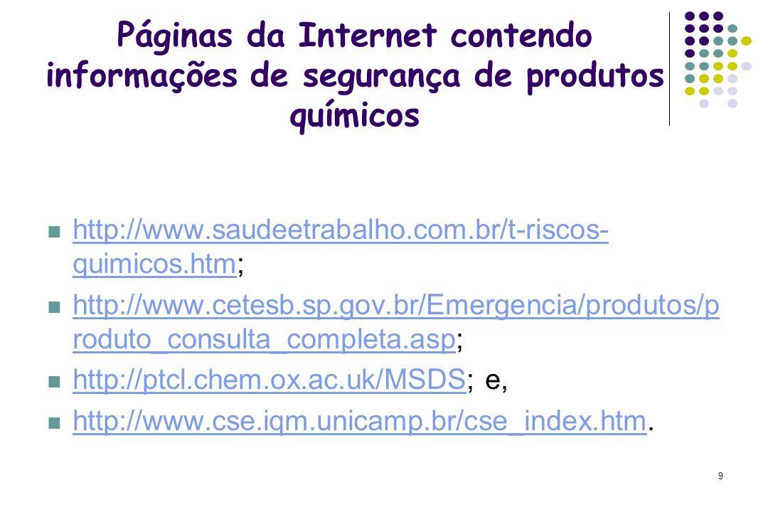 Páginas da Internet contendo informações de segurança de produtos químicos