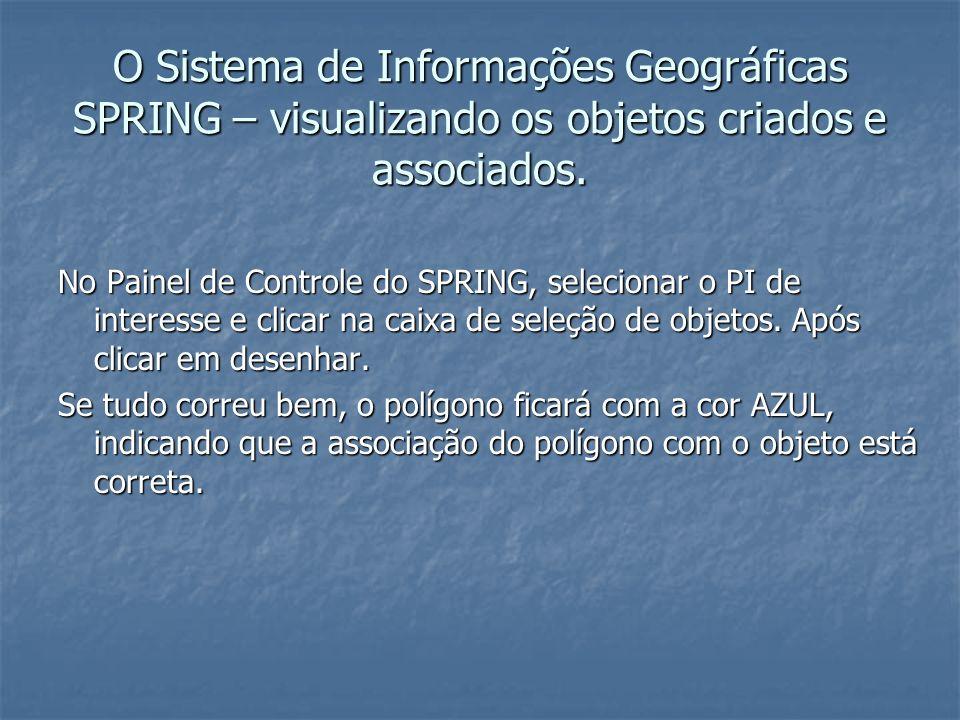 O Sistema de Informações Geográficas SPRING – visualizando os objetos criados e associados.