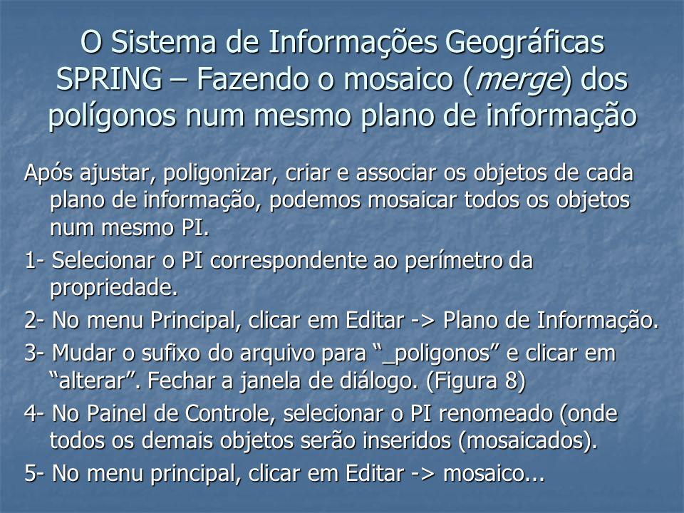 O Sistema de Informações Geográficas SPRING – Fazendo o mosaico (merge) dos polígonos num mesmo plano de informação