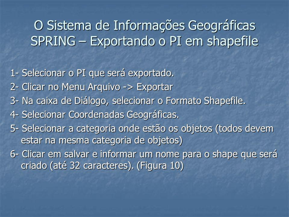 O Sistema de Informações Geográficas SPRING – Exportando o PI em shapefile