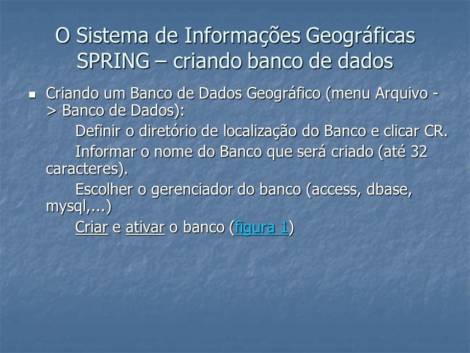 O Sistema de Informações Geográficas SPRING – criando banco de dados