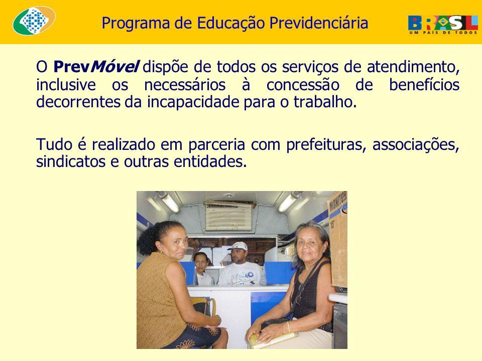 O PrevMóvel dispõe de todos os serviços de atendimento, inclusive os necessários à concessão de benefícios decorrentes da incapacidade para o trabalho.