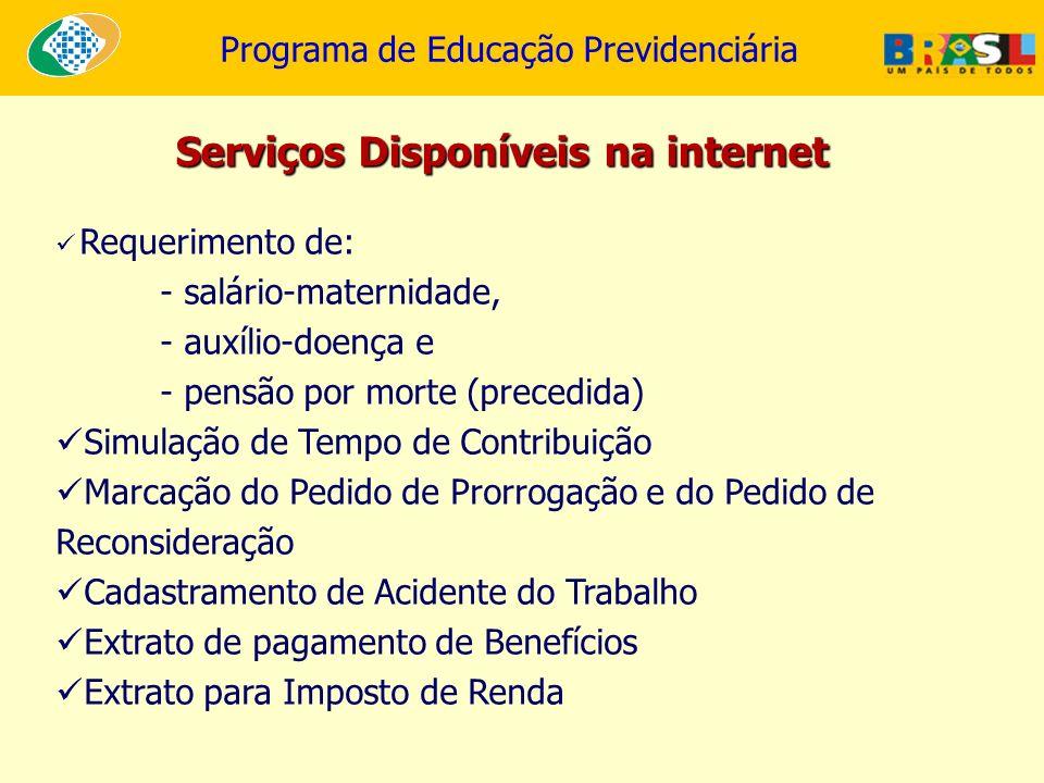Serviços Disponíveis na internet