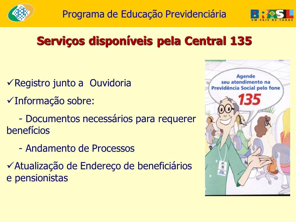 Serviços disponíveis pela Central 135