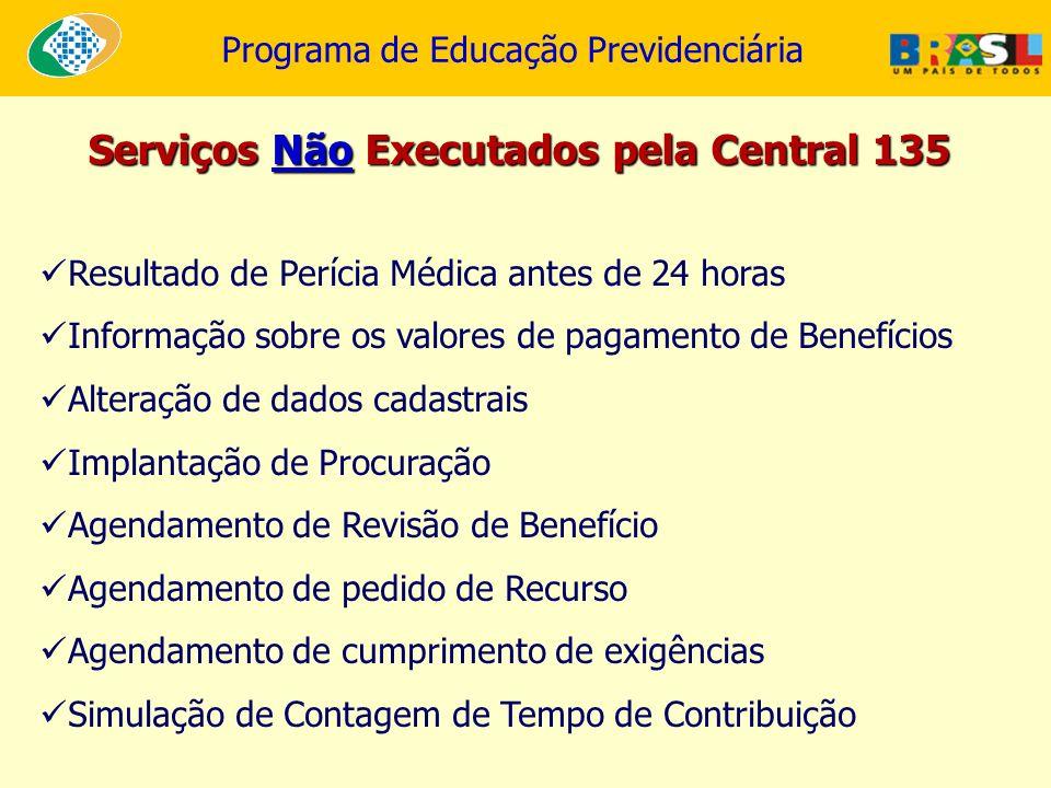 Serviços Não Executados pela Central 135