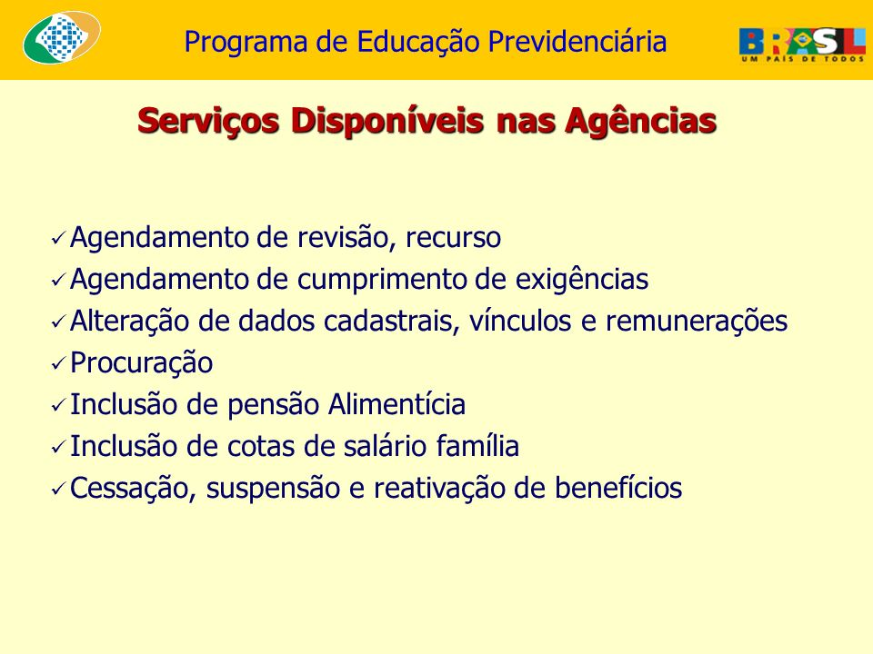 Serviços Disponíveis nas Agências