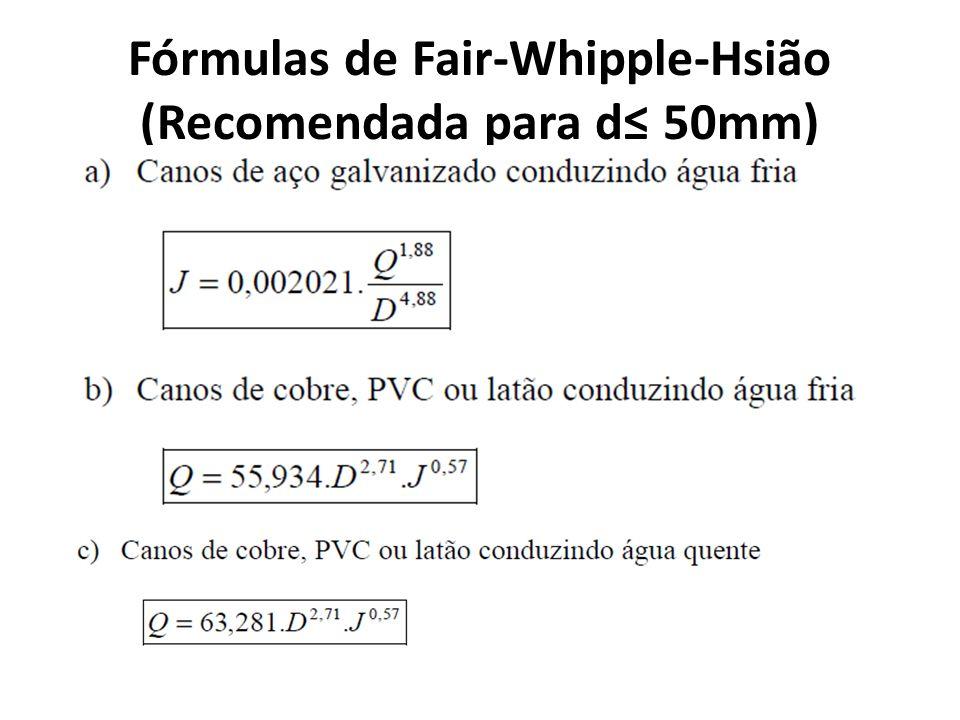 Fórmulas de Fair-Whipple-Hsião (Recomendada para d≤ 50mm)