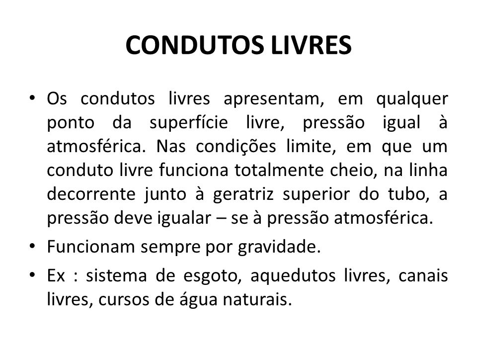 CONDUTOS LIVRES