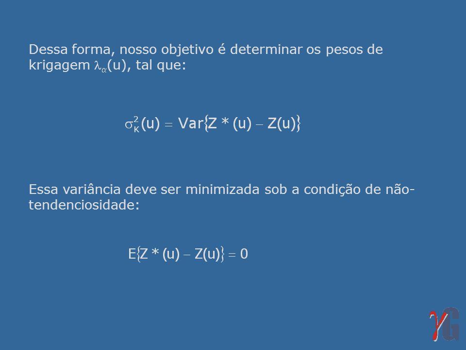 Dessa forma, nosso objetivo é determinar os pesos de krigagem (u), tal que: