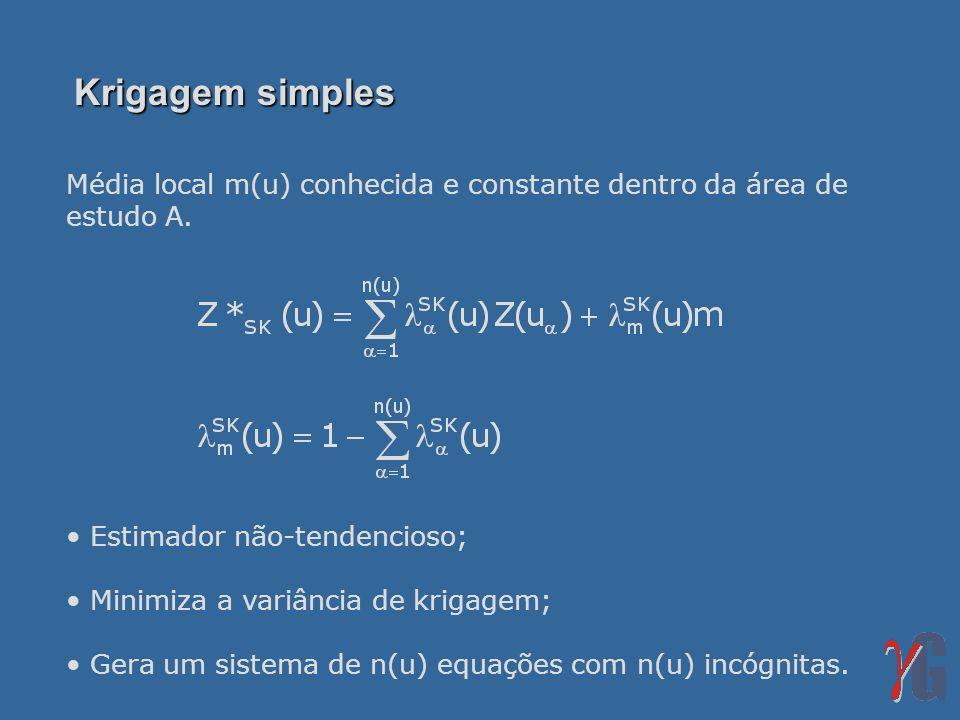 Krigagem simples Média local m(u) conhecida e constante dentro da área de estudo A. Estimador não-tendencioso;
