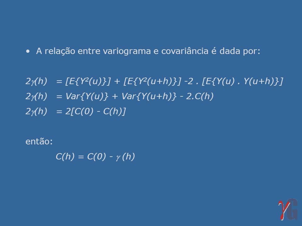• A relação entre variograma e covariância é dada por:
