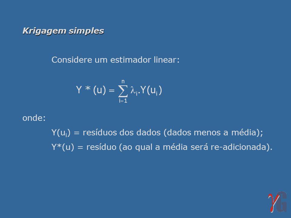 Krigagem simples Considere um estimador linear: onde: Y(ui) = resíduos dos dados (dados menos a média);