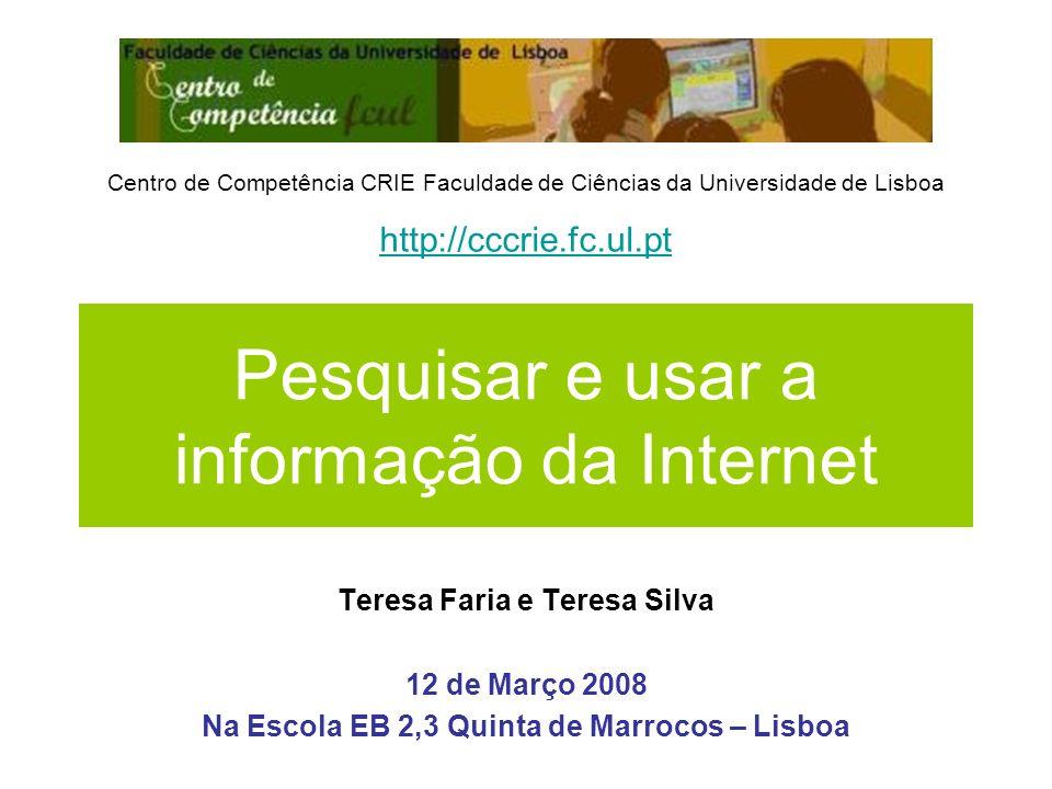 Pesquisar e usar a informação da Internet