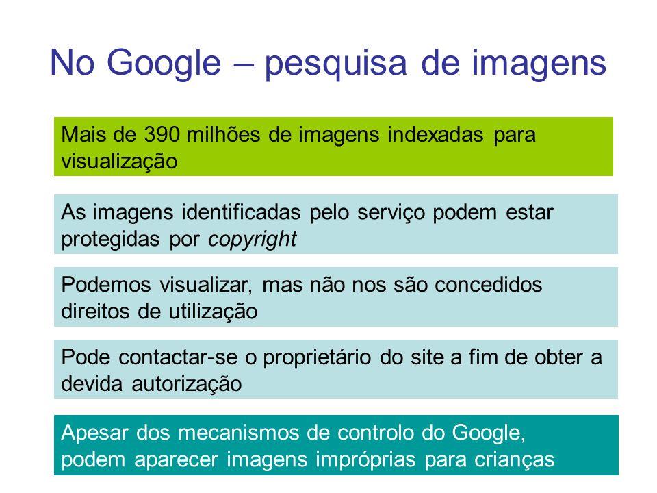 No Google – pesquisa de imagens