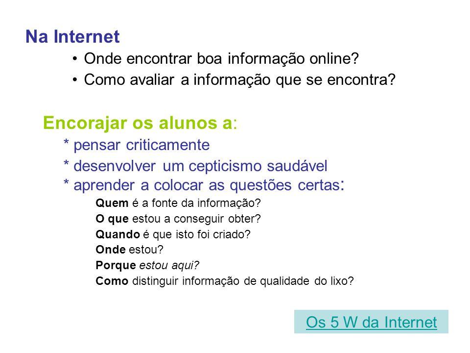 Na Internet Encorajar os alunos a: