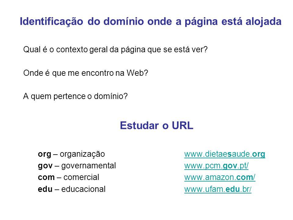 Estudar o URL Identificação do domínio onde a página está alojada