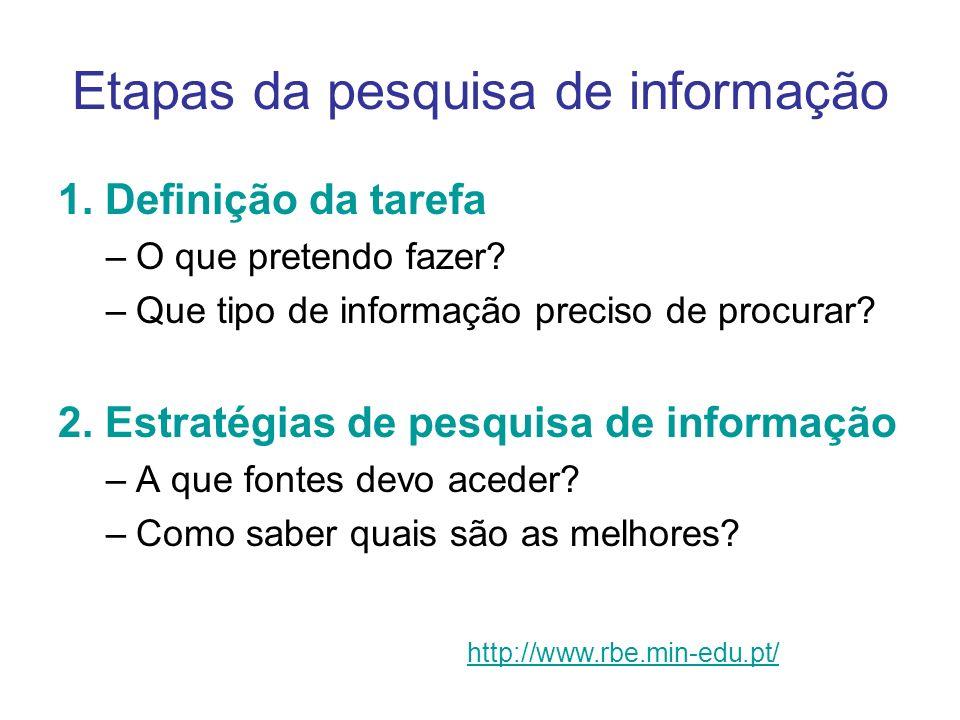 Etapas da pesquisa de informação