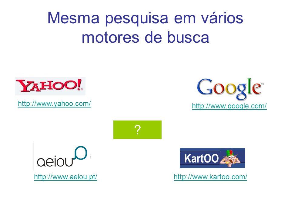 Mesma pesquisa em vários motores de busca
