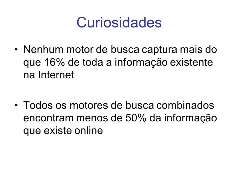 Curiosidades Nenhum motor de busca captura mais do que 16% de toda a informação existente na Internet.