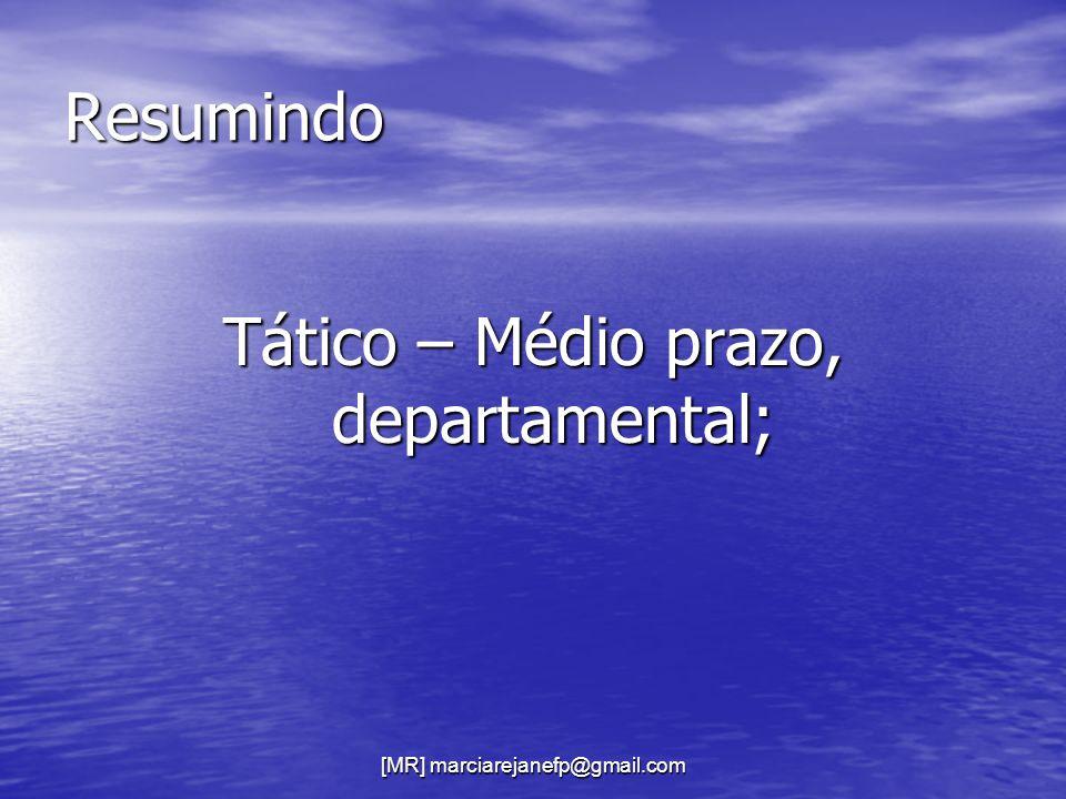 Tático – Médio prazo, departamental;