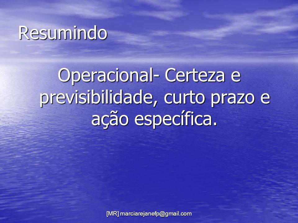 Operacional- Certeza e previsibilidade, curto prazo e ação específica.