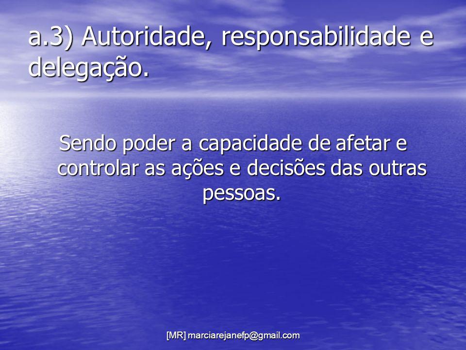 a.3) Autoridade, responsabilidade e delegação.