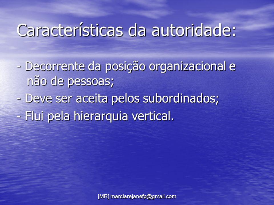 Características da autoridade: