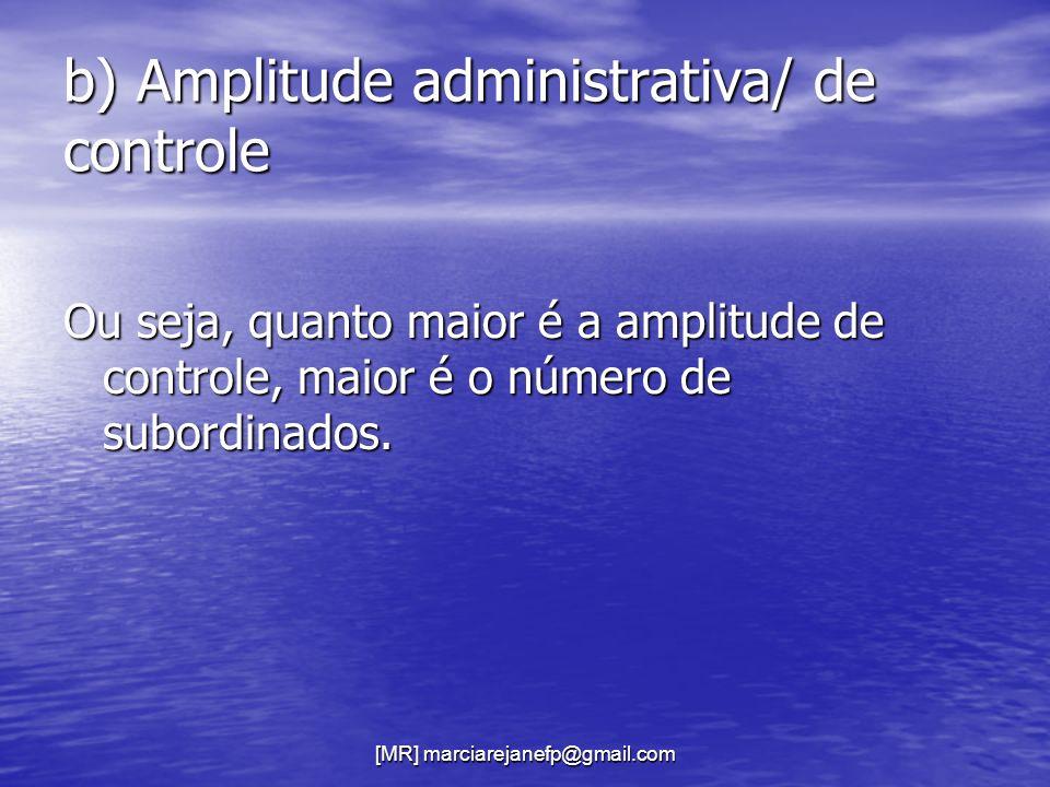 b) Amplitude administrativa/ de controle