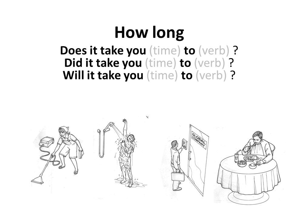 How longDoes it take you (time) to (verb) .Did it take you (time) to (verb) .