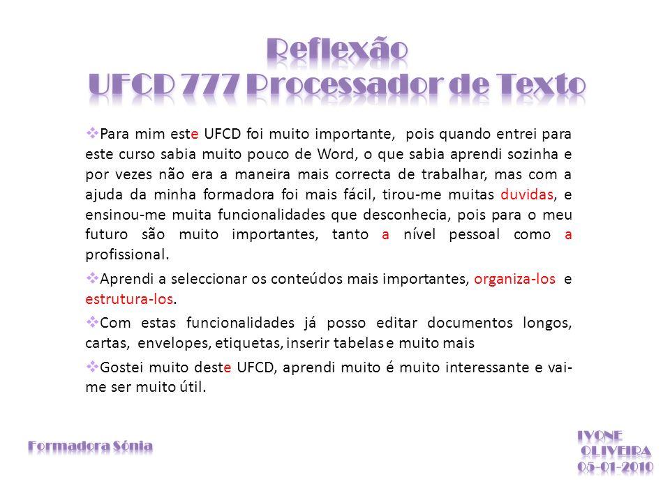 Reflexão UFCD 777 Processador de Texto