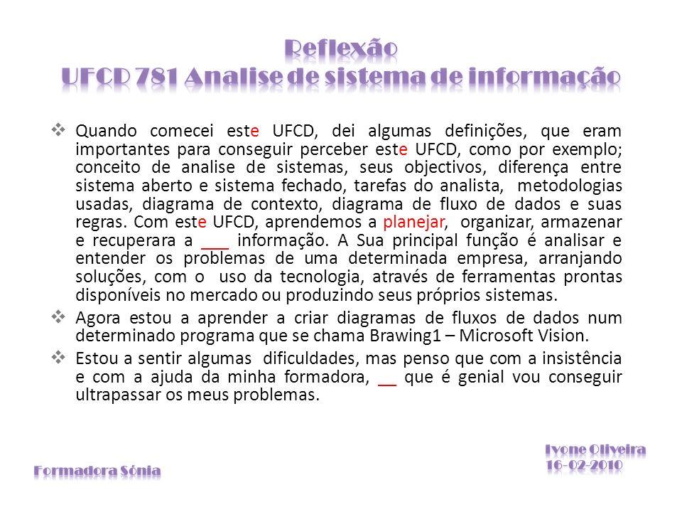 Reflexão UFCD 781 Analise de sistema de informação