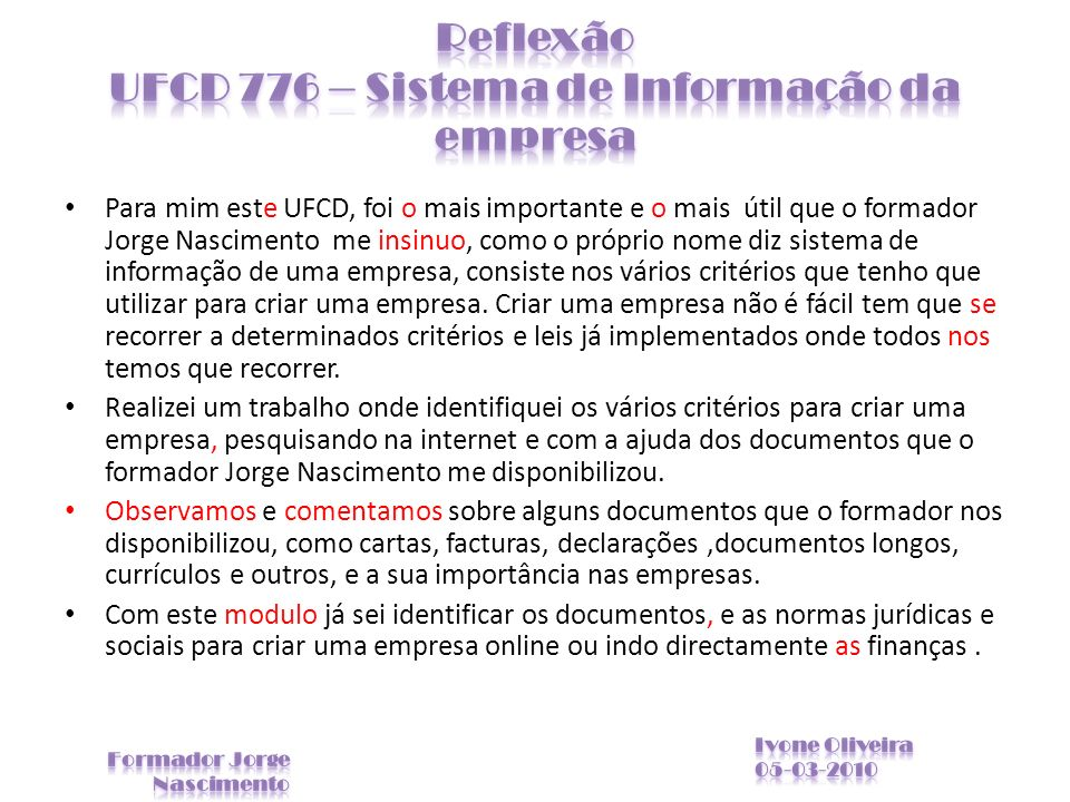 Reflexão UFCD 776 – Sistema de Informação da empresa