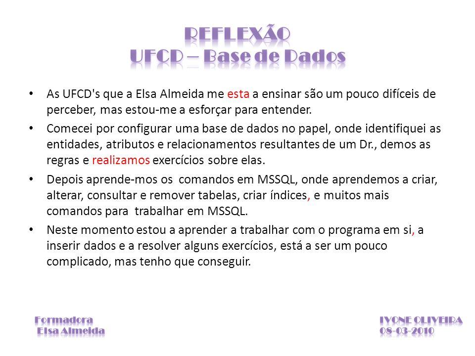 REFLEXÃO UFCD – Base de Dados
