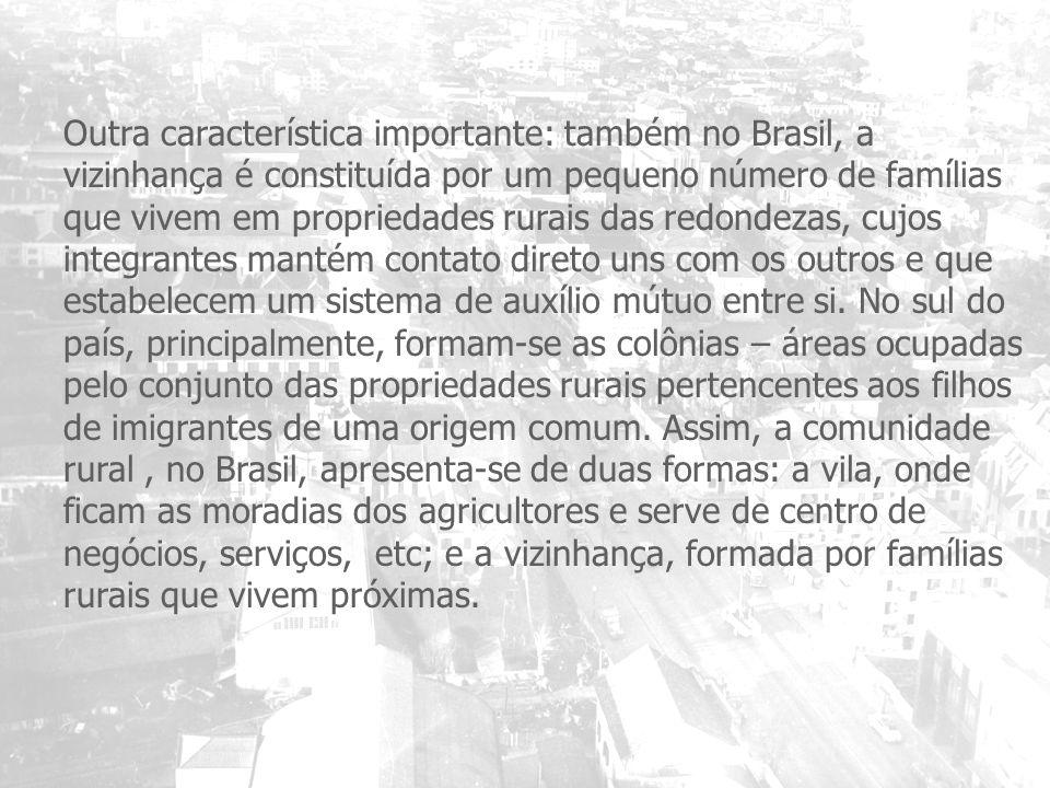 Outra característica importante: também no Brasil, a vizinhança é constituída por um pequeno número de famílias que vivem em propriedades rurais das redondezas, cujos integrantes mantém contato direto uns com os outros e que estabelecem um sistema de auxílio mútuo entre si.