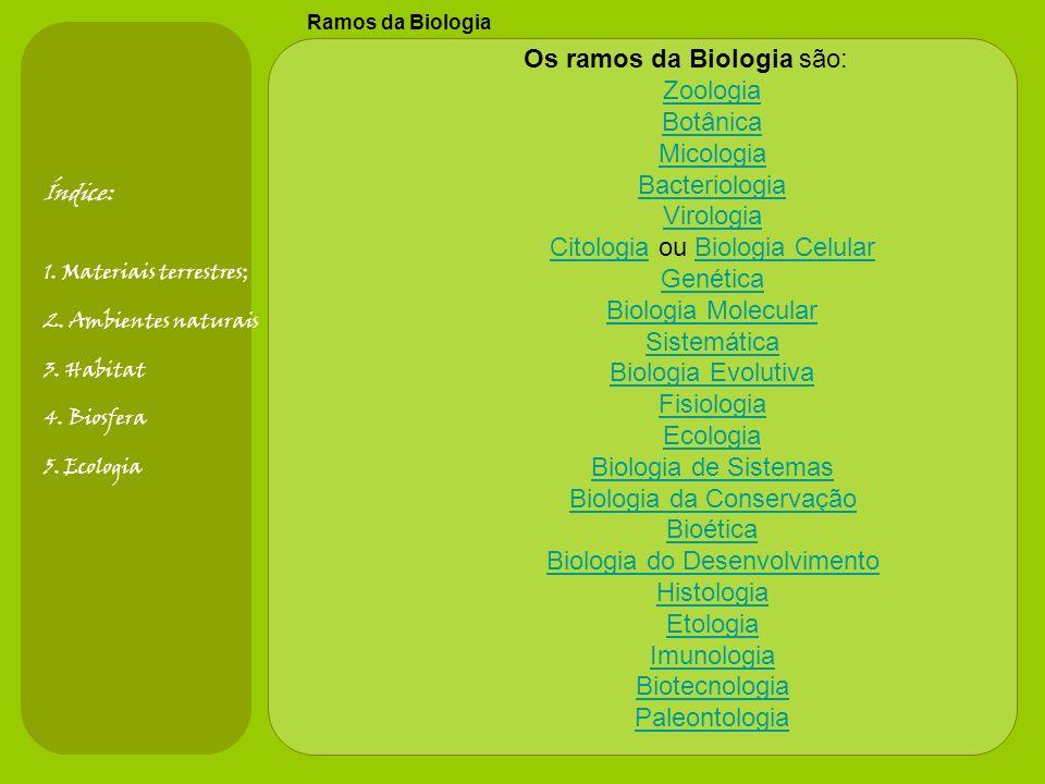 Os ramos da Biologia são: Zoologia Botânica Micologia Bacteriologia